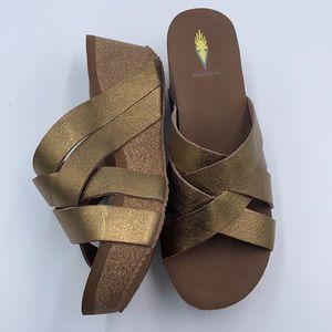 NWOT Volatile MAYFIELD Bronze Wedge Sandals